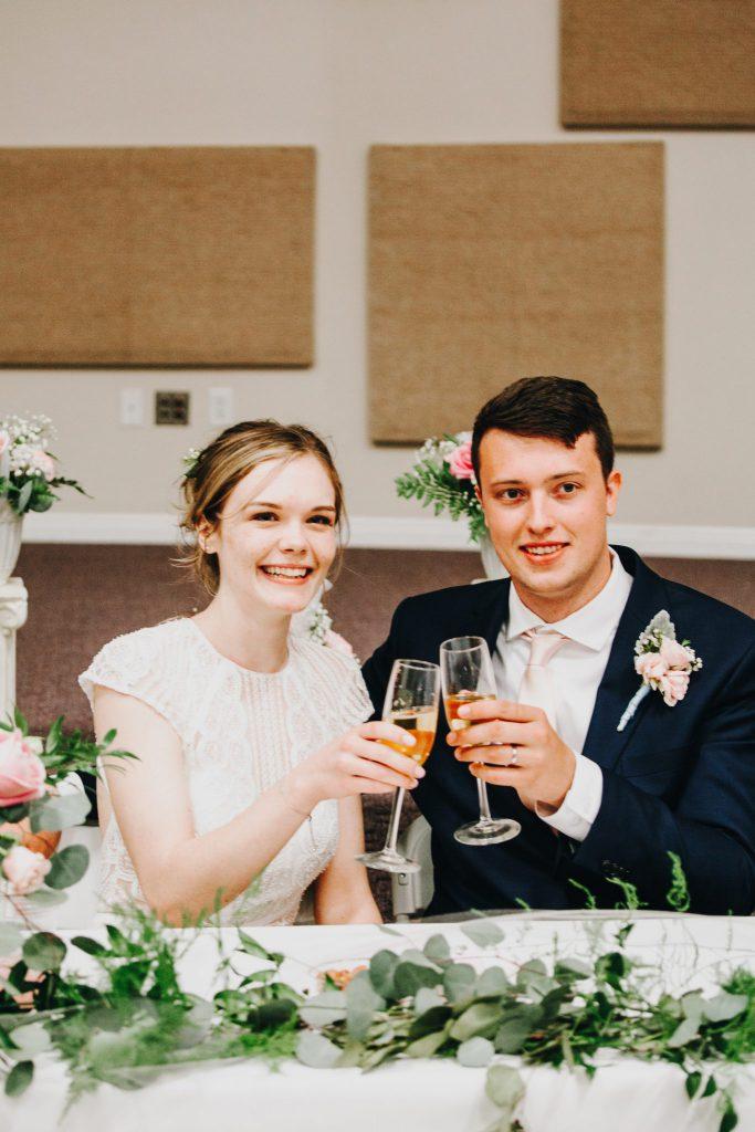 couple, wedding ,reception, toasts