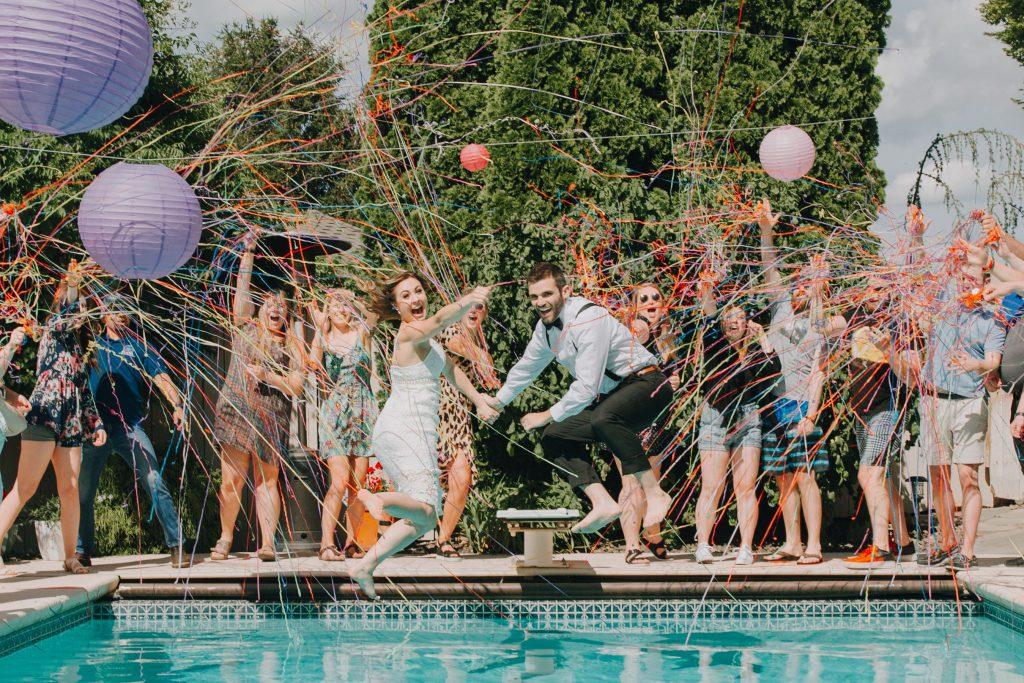 elopement, pnw wedding, elopement photographer, pool party